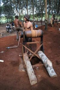 Holzkonstruktion einer Mine